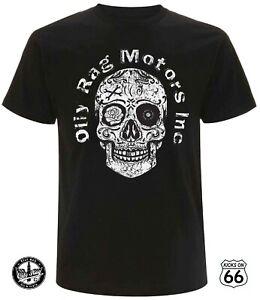 Oily Rag Co. 'Motors Inc' T-Shirt - Hot Rods, Sugar Skull