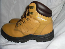 DUNLOP TAN LEATHER SAFETY LACE UP STEEL TOE CAP BOOTS SIZE UK 6.5 EU 40 VGC
