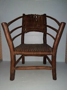 Vintage Child's Hickory Wooden Woven Windsor Back Chair