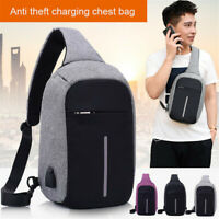 Anti Theft Sling Bag USB Shoulder Men Chest Cross Body Backpack Casual Pouch Bag