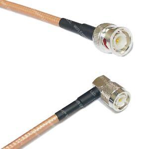 RG400 Silver BNC MALE to TNC Male Angle Coax RF Cable USA Lot