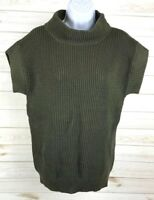 Ann Taylor Women's Chunky Knit Sweater Size Small Green Turtleneck EUC A4701