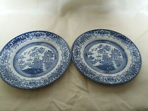 """Pair of Vintage Old Willow Pattern 7"""" Side Plates - English Ironstone"""