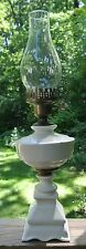 Vintage White Ceramic Table Lamp W/ Hurricane Shade Mark 1939