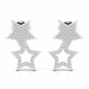 Natural 14KT Gold 0.49TCW Real Diamond Stud Earrings For Women Star Fine Jewelry