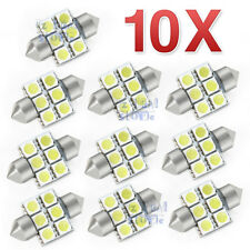10x 12V LED 31MM FESTOON INTERIOR CAR AUTO LIGHT BULB 5050 6SMD WHITE DOME GLOBE