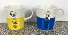 Peanuts Snoopy Mug Cup Beagle Hugs Charlie Brown & Woodstock YAMAKA JAPAN Set 2