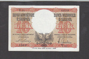 10 LEK EXTRA FINE BANKNOTE FROM ITALIAN OCCUPIED ALBANIA 1940 PICK-11