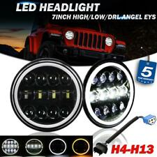 "Pair 7"" Round LED Headlight Halo DRL Hi-Lo Beam DOT Lamp for Jeep Wrangler JK TJ"