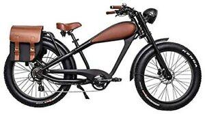 Matte Black & Brown 50'S Retro Electric Bike -36V 21AH Samsung Battery