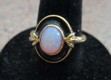 AVON VINTAGE *ONYX AND PINK SHIMMERING RING** **NEW NO BOX** SIZE 8 GOLD-TONE