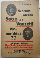 Sacco Vanzetti, Elektrischer Stuhl, Anarchie, Todesstrafe, Todesstrafe USA,