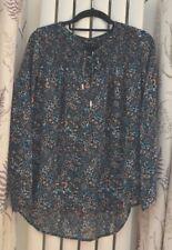 New Look Blue Black Floral Full sleeve On / Off Shoulder Top Blouse Loose Size 6