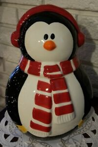 """CIB PINGUIN  11"""" tall COOKIE JAR - tide lid, red/white scarf & red earmuffs"""