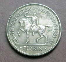 Australia 1934-35 Melbourne/ Victoria Centenary One Florin - Sterling Silver gVF