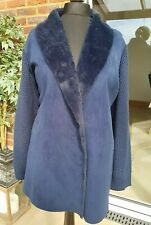 BEIGE Coat With Faux Fur Collar, Navy (Size 28)