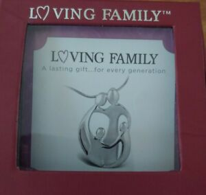 Loving Family Necklace, Small Mother and 2 Children, Silver Mother's Jewelry