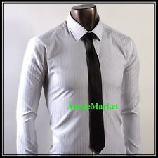 1 x mens skinny tie black polyester silk satin wedding birthday shirt suit new