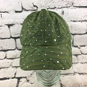 Womens OSFA Fat Green Sheer Textured Shimmer Adjustable Ball Cap