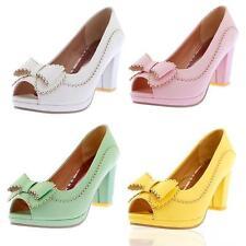 New Ladies Bowknot Carved Platform High Heels Pumps Peep Toe Court Shoes Plus Sz