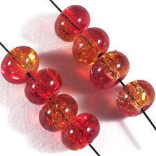 30 perles craquelées Rondelles en verre 8 x 5 mm Orange