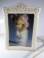 Vintage Guardian Angel Porcelain Bisque Frame Night Light Accent Lamp Slide In