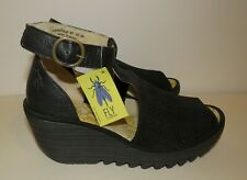 FLY LONDON Black Perforated Leather Yehi Ankle Strap Wedge Sandal 40 / 9-9.5 NEW