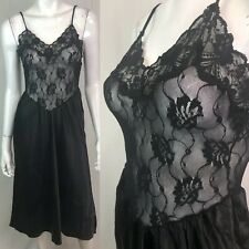 Vintage Lady Lynne Small Black Floral Lace Sheer Full Slip Lingerie Midi Dress