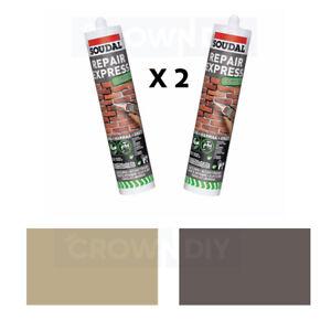 2 x Soudal Repair Express 300ML TUBES Ready Mix Cement Cartridge Grey / Beige