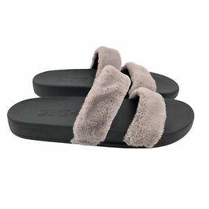 PINK Victoria Secret Slippers Plush Slip On Slides Gray/Black Shoes Womens 7/8
