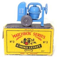 LESNEY MATCHBOX NO. 3 CEMENT MIXER - MINT BOXED 'MOKO' GREY WHEELS