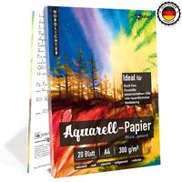 woohoo4u Aquarellpapier, 300 g, DIN A4, 20 Blatt, Weiß, geleimt, Aquarellblock