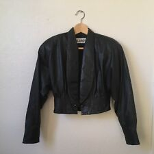 Vintage ALAMOS Pleated Black Leather Cropped Jacket Women's Size Small