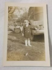 Vintage Old 1936 Photo of Little Girl & Car with E Exempt License Plates CA.