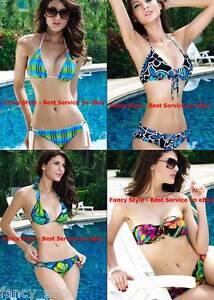 Blue Green Flowery Bandeau Push Up Padded Halter Fashionable Bikini Swimwear Set