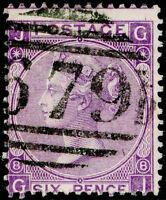 SG108, 6d dull violet PLATE 8, USED. Cat £90. GJ
