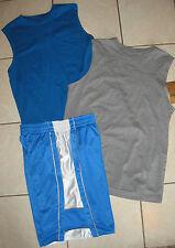 MENS MEDIUM MUSCLE SHIRTS BOYS XL ATHLETIC SPORT SHORTS BLUE GRAY