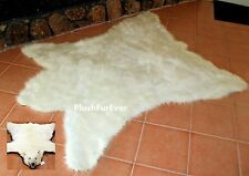Polar Bear Skin 5x6 Faux Fur Throw Rug Cottage Cabin Rustic Room Area Rugs