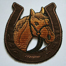 BROWN HORSE RACING WITH HORSESHOE Embroidered Iron on Patch Free Postage
