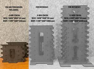 DIY 3.5 inch Hard drive caddy bracket rack, 4 stack, black MDF 3mm