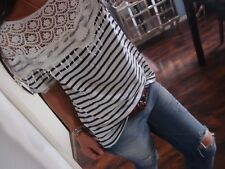 Shirt Neu M L Weiß Blau Streifen Spitze Blogger Tunika Italy Bluse Boho 38 2018