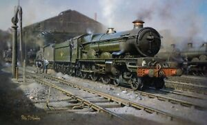 THORNBURY CASTLE STEAM LOCOMOTIVE WOLVERHAMPTON SHED 1959 SPLENDID LARGE PRINT