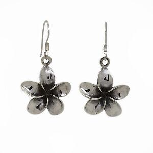 Genuine Sterling Silver - Flower Dangly Drop Earrings (SE0363)
