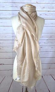 NORDSTROM One Size Oversized Cashmere Silk Fringe Lightweight Scarf Beige