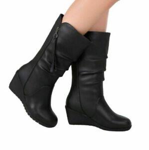 Women Wedge Mid Heel Casual Pleated Zipper Mid Calf Boots Outdoor 35/42 Pumps D