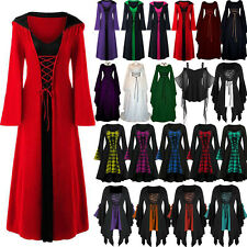 Womens Halloween Renaissance Gothic Witch Party Long Dress Cosplay Fancy Costume
