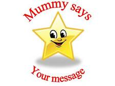 70 Personalised Mummy says reward Stickers Star 3for2 136 Labels Sticker