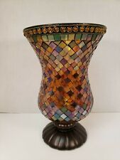 """Partylite Global Fusion Hurricane Candle Holder Mosaic Vase Retired P8366 12"""""""