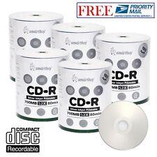 500 Pack Smartbuy 52X CD-R 700MB Silver Inkjet Hub Printable Disc Priority Mail