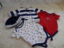 Baby Boy 3 Months Little Me 2 Rompers Hat & Zip Up Hoodie Sweatshirt Outfit Set